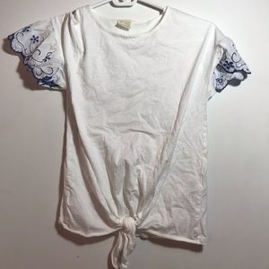 Zara tie tee with embroidered sleeves